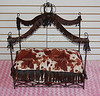 ITEM NAME: Faux Suede Cow HIde<br /> SHORT DESCRIPTION:Cow Hide Design on Soft Faux Suede. Bed Frame is Black with Brown Fringe<br /> PRICE: $250.00<br /> COLOR: Various Hues of Brown