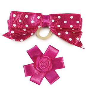 Teacup And Toy Dog Bows Item Number: DT 155  Hot Pink Sugar Pie Dog Bow
