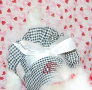 """Gingham Bling Sundresses Item Number # PE US569  ------------------------- Material: 100% Polyester Care: Machine wash cold on a gentle cycle. Line dry.  ------------------------ Size Fits:  Length Fits Necks  Fits Chests  XX-Small:    6""""        6""""-8""""           8""""-10""""  X-Small:      8""""        8""""-10""""        10""""-12""""  Small:        12""""      10""""-14""""      12""""-16""""  Medium:    16""""      14""""-18""""       16""""-22""""  Large:       20""""      18""""-22""""        22""""-26"""""""
