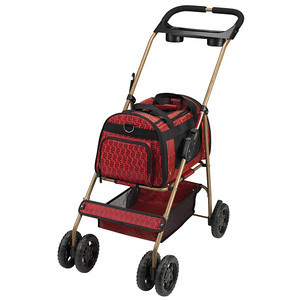 "COLOR: GARNET  Specifications:  Stroller measures 35 1/2"" x 17 1/2"" x 37""  Carrier measures 16"" x 12"" x 10 1/2""  Weighs 13 lbs, accommodates pets up to 20 lbs  Easy assembly required   Material:  Tubular steel frame with nylon carrier  Care:  Wipe clean with a damp cloth   Features:  •Interior collar clip  •Removable dual cupholder  •Ventilated mesh panels on four sides and top  •Zipper-open panels on top and both ends  •Removable carrier body has handles and a shoulder strap  •Lower storage basket holds pet toys and supplies  •Swivel front wheels for easy maneuverability  •Locking rear wheels for safety"