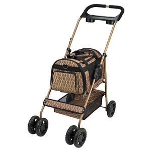 COLOR: BRONZE  Parts List:  (A) Stroller Frame  (B) Stroller Body  (C) Front Swivel Wheels  (D) Rear Wheel Assembly  (E) Cupholder  (F) Stroller Body Support Straps (2)  (G) Shoulder Strap   1. Unfold Stroller Frame (A) until locking hinges on the side of the frame click into place.  2. Attach Rear Wheel Assembly (D) to back legs of frame. The brake levers on the Rear Wheel Assembly should be facing back.  3. Attach the Front Swivel Wheels (C) to the front legs of the frame. Press the tabs in the center of the wheels while pushing down until they snap into place.  4. Unfasten Velcro® flaps on the bottom of the Stroller Body (B) and place the Body inside Stroller Frame.  5. Wrap Velcro® flaps around the bars of the Stroller Frame to secure the Body in place.  6. Snap the Stroller Body Support Straps (F) into the corresponding snaps on the inside ends of the carrier.  7. Snap the Cupholder (E) into the two plastic tabs on the handle of the Stroller Frame.   Safety Precautions:  •Designed for pets only. •Recommended for use with one pet only.   •Do not overload stroller. Maximum weight of pet should not exceed 20 lbs.   •Use of a safety harness or similar restraint is recommended.   •Do not leave pet unsupervised in stroller.   •Do not use stroller on escalators or stairs. Fold stroller and carry.   •Use brake whenever stroller is parked.   •Check that frame is locked in place and stroller body is secure before placing pet inside.   •Do not hang heavy items from handles, as this may make the stroller unstable.   •Do not carry additional items in stroller that may cause it to exceed it maximum load capacity.