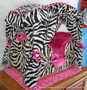 Zebra & Hot Pink Canopy Dog Bed