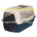 Pet Mate Travel Carrier is airline approved. Color: Blue