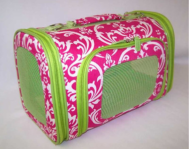 "Pink Damask With Lime Green Trim Sophisticated Damask Print Dog Carrier for trend setting pooches!  •Cotton Material •Mesh windows on 3 sides •Zipper on 3 sides •Shoulder strap and top handle Available in three sizes and accommodates dogs up to 14 lbs.  •Cotton Material •Mesh windows on 3 sides •Zipper on 3 sides •Shoulder strap and top handle  Size Small: 15"" Length, 8.5"" Width and 9.5"" Height for Dogs up to 8 Lbs.  Size Medium: 16"" Length, 9"" Width and 10"" Height for Dogs up to 10 Lbs.  Size Large: 18"" Length, 10"" Width and 11.5"" Height for Dogs up to 12 Lbs."