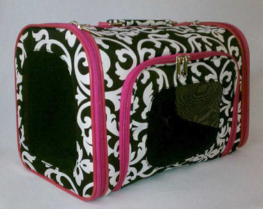 "Black Damask & Fuchsia Dog Carrier  Sophisticated Damask Print Dog Carrier for trend setting pooches!  Take your pet with you wherever you go in one of these oh, so cute luggage style pet carriers. Zippered front and side panels for easy access. Mesh windows on three sides for plenty of ventilation. Carrying handle and detachable/adjustable shoulder strap for easy traveling.  •Cotton Material •Mesh windows on 3 sides •Zipper on 3 sides •Shoulder strap and top handle Available in three sizes and accommodates dogs up to 14 lbs.  •Cotton Material •Mesh windows on 3 sides •Zipper on 3 sides •Shoulder strap and top handle  Size Small: 15"" Length, 8.5"" Width and 9.5"" Height for Dogs up to 8 Lbs.  Size Medium: 16"" Length, 9"" Width and 10"" Height for Dogs up to 10 Lbs.  Size Large: 18"" Length, 10"" Width and 11.5"" Height for Dogs up to 12 Lbs."