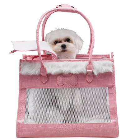 X Not Available X Pink and White Dog Carrier ( Discontinued )