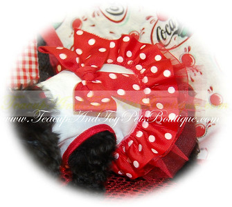 SWEETHEART DOG DRESS COLOR: Red & White Polka Dot Item Number: 924347  Soft cotton/lycra tank dress embellished with polka dot ribbon bow, tulle and organza ruffles.