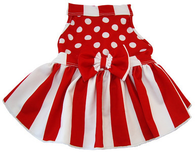 RED STRIPES AND DOTS HALTER