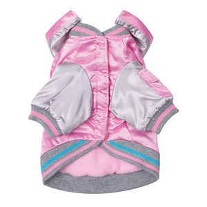 "ITEM NUMBER # ZM 699 COLOR: Hot Pink Stylish Casual Canine® Satin Bomber Jackets for dogs have a water-resistant polyester satin shell with a coordinating fleece lining and a removable hood.  Each dog jacket has fashionable tattoo-style graphic on the back.  DISCRIPTION: Give pets a blast of fashion! Sporty, stylish bomber jackets for dogs have a water-resistant polyester satin shell with a coordinating fleece lining for warmth. Features include Velcro® closures from neck to belly, striped trim, and a removable hood.  SPECIFICATIONS: Material: 100% Polyester  Care: Machine wash cold on gentle cycle. Line dry.  SIZE: XX-Small  Length: 8"" PRICE: $22.00  SIZE: X-Small Length: 10"" PRICE: $24.00  SIZE: Small  Length: 12"" PRICE: $26.00  SIZE: Medium Length: 16"" PRICE: $29.00"