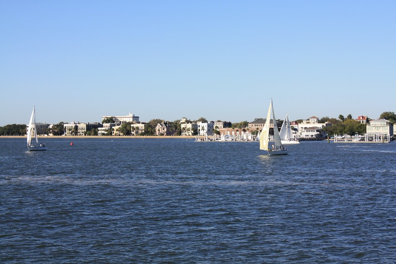 Charleston Harbor and a view of the Battery