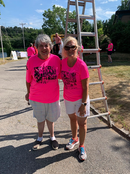 From left, Patti Mason and Team Forever Young captain and Chairwoman Nancy Cook, both of Westford