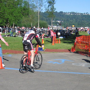 Dismounting at the line.