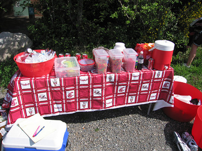 Check out this spread:  Chocolate milk, Coke, water, Gatorade, Mike&Ikes, Gummy Bears, Skittles, Bars, Red Vines, and more!