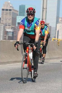 """Doug and Choc ride over one of the 5 bridges, for more pics of Doug <a href=""""http://www.brightroom.com/view_user_event.asp?EVENTID=11571&PWD=&BIB=27514""""> Dougs Pics from 5-Boro Ride </a>"""