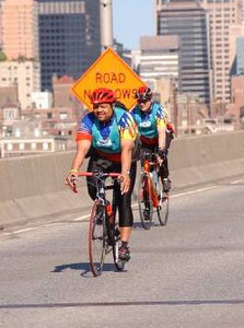 """Choc and Doug ride over one of the 5 bridges, for more pics of Doug <a href=""""http://www.brightroom.com/view_user_event.asp?EVENTID=11571&PWD=&BIB=35078""""> Joes Pics from 5-Boro Ride </a>"""