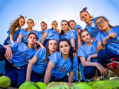Rebel Stare: The Telstar softball team gathers for the team photo.
