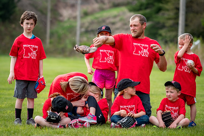 One Down: Classic Maine T-Ball team photo as the Norway Red team is besieged by black flies. One coach valiantly swats them away as another tends to a child with a black file in the eye.