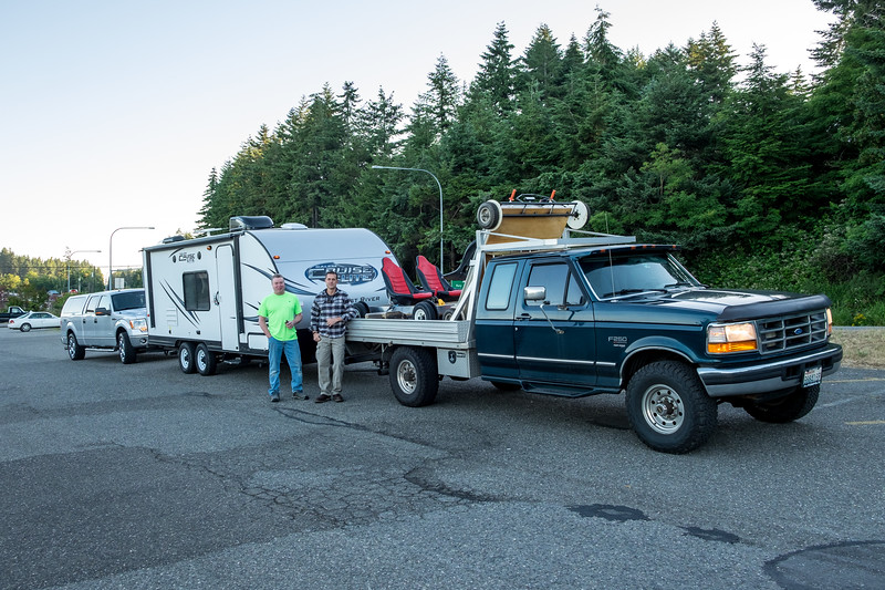 On the road.  The trip begins here, in Gig Harbor, Washington.  It'll take us about 7 or 8 hours to reach the destination, set up camp and prepare for the next days ride.