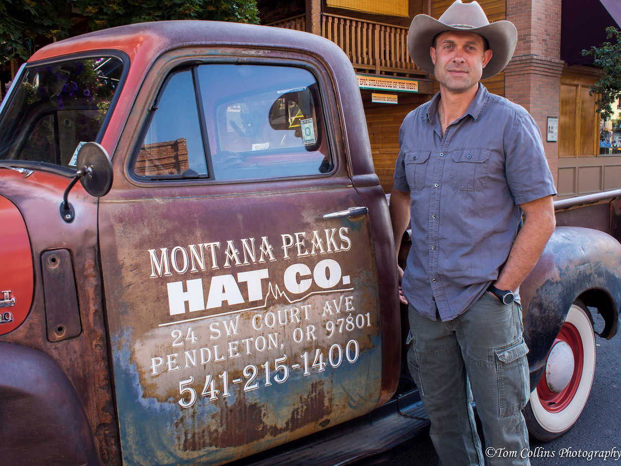 The proprietors of the Montana Peaks Hat Company own and drive this truck back and forth to work everyday in downtown Pendleton, Oregon.  It is an absolute beauty inside and out.  Some might think to have it restored and brought back to new, but the engine is like new as is the suspension and given the nature of their business and where they are, this is pretty perfect just like it is.  Of course George wanted to buy it from them but they weren't considering it.