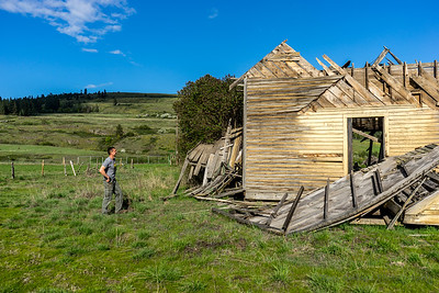 George looking over the abandoned Larsen School in Stevens County, Washington