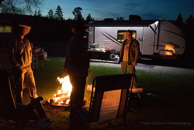 Night time around the campfire and Jeffs new trailer.