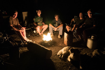 Wood fires are banned in Washington State so we had to resort to our gas stove, which worked out perfectly.  (L-R) Jeff, Mark, Joe, George, Tom and of course Ruby.