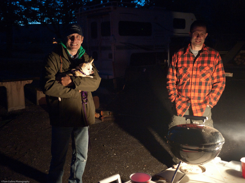 Mike and George at camp on a chilly night.