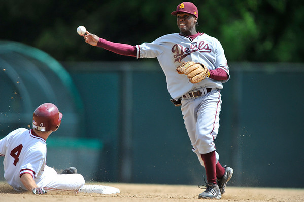 6 April 2008:  Arizona State Sun Devil Marcel Champagnie turns a double play as Stanford Cardinal Austin Yount slides into second during Stanford's 12-2 win against the Arizona State at Sunken Diamond in Stanford, CA.