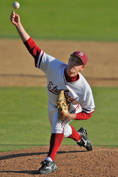 31 March 2008: Stanford Cardinal David Stringer during Stanford's 9-3 win against the Long Beach State 49ers at Klein Field at Sunken Diamond in Stanford, CA.