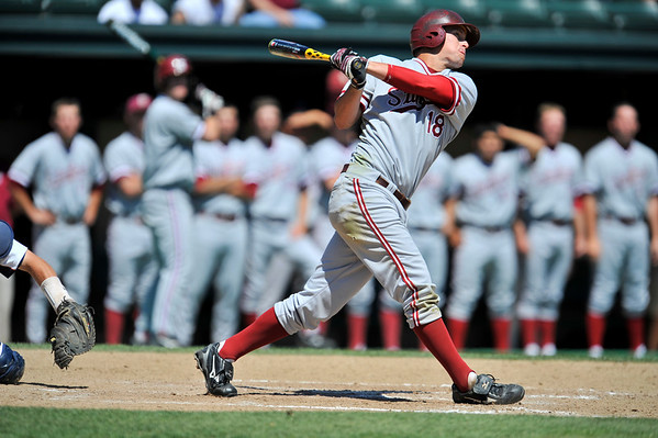 02 June 2008:  Stanford Cardinal Sean Ratliff (18) hits a grand slam in the fifth inning during Stanford's 9-7 win over Pepperdine at Klein Field at Sunken Diamond in Stanford, CA.