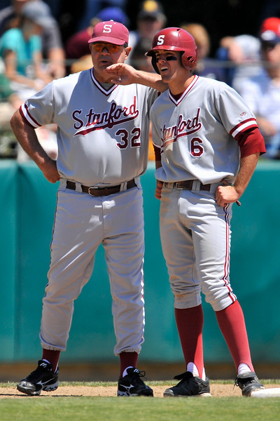 01 June 2008:  Stanford Cardinal Associate Head Coach Dean Stotz (32) talks with Jake Schlander (6) at third base during Stanford's 8-4 win over UC Davis at Klein Field at Sunken Diamond in Stanford, CA.