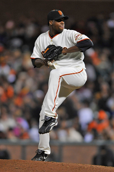 08 April 2008: Merkin Valdez during the Giants 3-2 victory over the Padres at AT&T Park in San Francisco, CA.