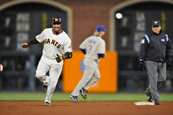 08 April 2008: Bengie Molina homers for the second time to win the game with two outs in the 11th inning, securing the Giants 3-2 victory over the Padres at AT&T Park in San Francisco, CA.