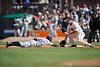 30 April 2008:  Scott Podsednik (22) dives back to first base as John Bowker (21) receives the ball during the San Francisco Giants' 3-2 victory over the Colorado Rockies at AT&T Park in San Francisco, CA.