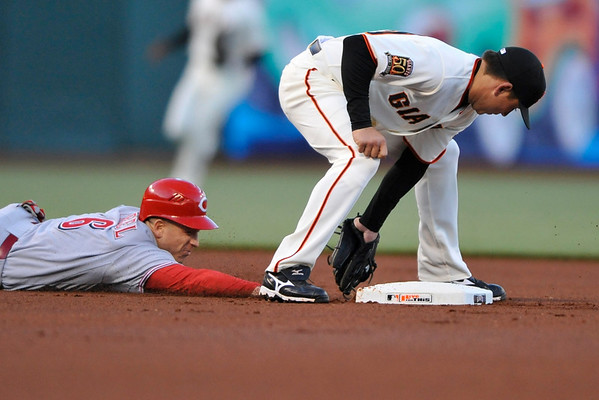 25 April 2008: Brian Bocock (29) tags out Ryan Freel (6) between his legs after Freel overran second base on a sacrifice bunt play during the San Francisco Giants' 3-1 win over the Cincinnati Reds at AT&T Park in San Francisco, CA.
