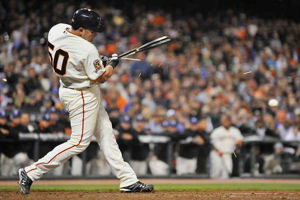 02 July 2008:  Eliezer Alfonso (50) shatters a bat on a Kerry Wood (34) fast ball during the Chicago Cubs' 6-5 win over the San Francisco Giants at AT&T Park in San Francisco, CA.