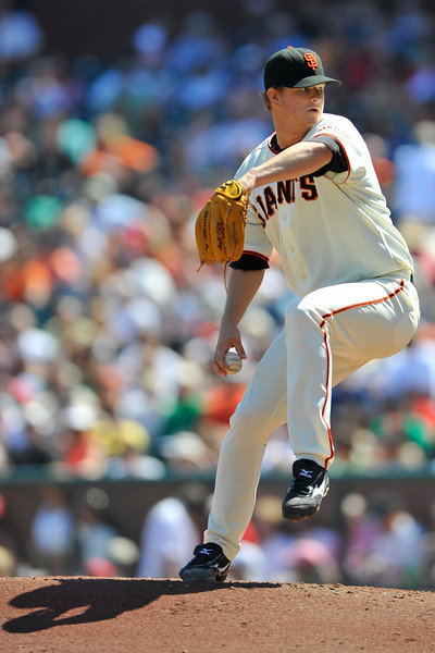 12 April 2008:  Matt Cain (18) during the St. Louis Cardinals' 8-7, 10-inning, victory over the San Francisco Giants at AT&T Park in San Francisco, CA.  Cain took a no-hitter into the 7th inning but ended with a no-decision.
