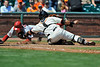 16 April 2008:  Bengie Molina applies the tag as Eric Byrnes dives for the plate during the Arizona Diamondbacks' 4-1 victory over the San Francisco Giants at AT&T Park in San Francisco, CA.  Byrnes was out on the play.
