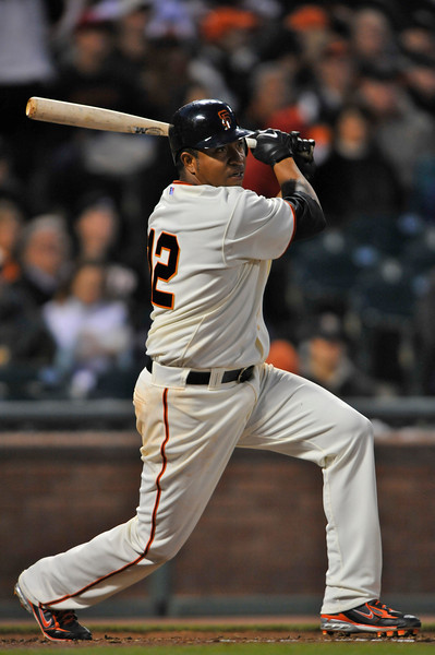 08 April 2008: Jose Castillo singles to right field in the bottom of the second inning during the Giants 3-2 victory over the Padres at AT&T Park in San Francisco, CA.