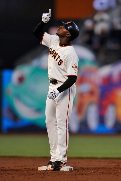 12 May 2008:  Fred Lewis (14) celebrates after hitting an RBI double during the Houston Astros' 7-3 victory over the San Francisco Giants at AT&T Park in San Francisco, CA.