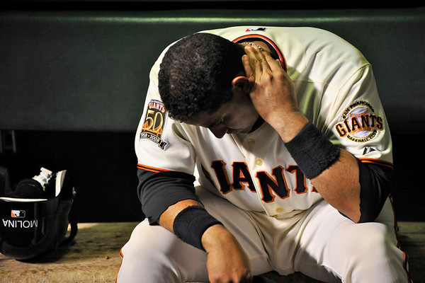 09 May 2008:  Bengie Molina (1) contemplates the Giants' fifth consecutive loss after the Philadelphia Phillies' 7-4 victory over the San Francisco Giants at AT&T Park in San Francisco, CA.