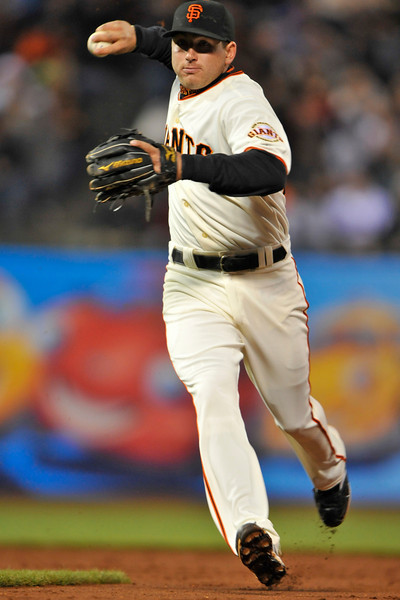 08 April 2008: Brian Bocock throws out a runner in the third inning during the Giants 3-2 victory over the Padres at AT&T Park in San Francisco, CA.