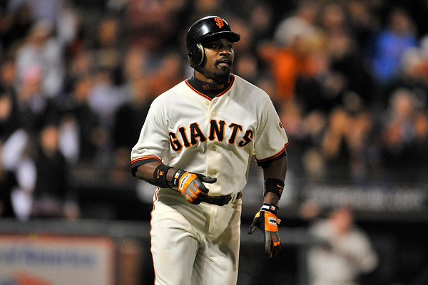 02 July 2008:  Ray Durham (5) hits a 3-run homer to tie the game during the Chicago Cubs' 6-5 win over the San Francisco Giants at AT&T Park in San Francisco, CA.