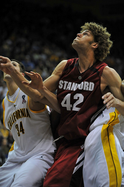 26 January 2008: Robin Lopez during Stanford's 82-77 win over California at the Haas Pavilion in Berkeley, CA.