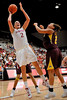 14 November 2008: Stanford center Jayne Appel (2) shoots over Minnesota forward Ashley Ellis-Milan (21) during the Cardinal's 68-55 victory over the Golden Gophers at Maples Pavilion in Stanford, CA.