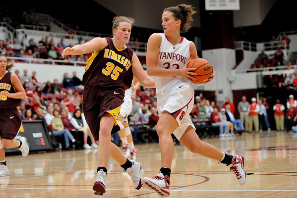 14 November 2008: Stanford forward Jillian Harmon (33) drives the lane as Minnesota guard Katie Ohm (35) defends brings the ball up court during the Cardinal's 68-55 victory over the Golden Gophers at Maples Pavilion in Stanford, CA.