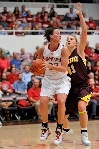 14 November 2008: Stanford forward Jillian Harmon (33) prepares to shoot as Minnesota forward Brianna Mastey (41) defends during the Cardinal's 68-55 victory over the Golden Gophers at Maples Pavilion in Stanford, CA.