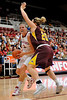 14 November 2008: Stanford center Jayne Appel (2) draws contact from Minnesota center Zoe Harper (20) during the Cardinal's 68-55 victory over the Golden Gophers at Maples Pavilion in Stanford, CA.