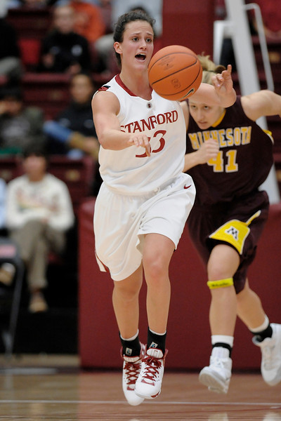 14 November 2008: Stanford forward Jillian Harmon (33) passes down court during the Cardinal's 68-55 victory over the Minnesota Golden Gophers at Maples Pavilion in Stanford, CA.