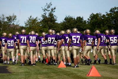 Cheverus High School Football Team 2009 photographed on the schools Football field on 8.27.09.  Photograph taken by Portland, Maine based photographer Jeff Scher.